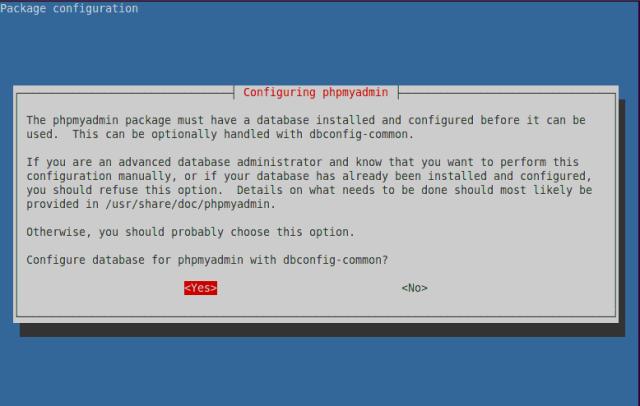 configure phpMyAdmin database