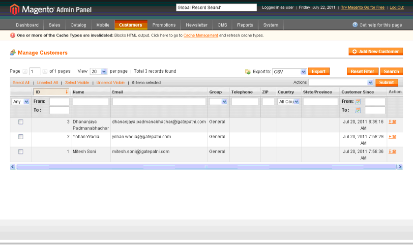Bitnami Magento - Admin Panel - All Customers