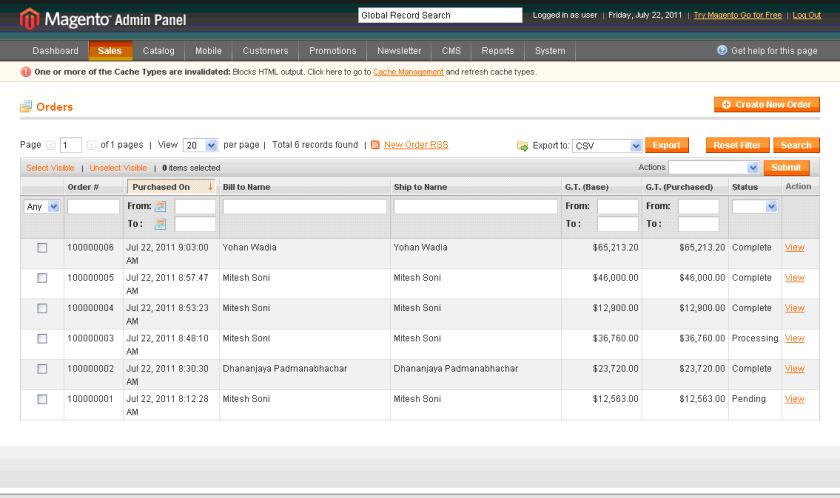 Bitnami Magento - Admin Panel - All Orders