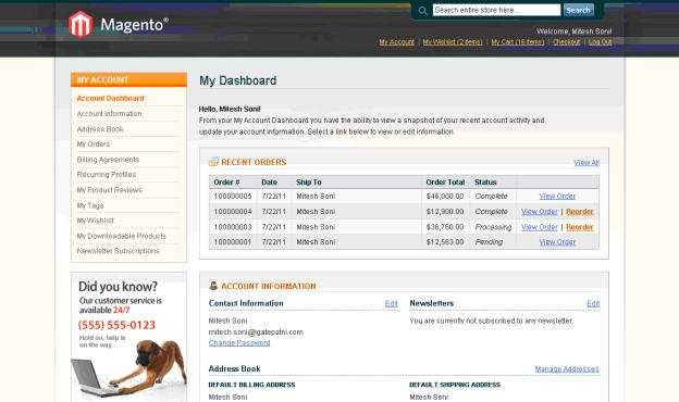Bitnami Magento - Admin Panel - User Dashboard