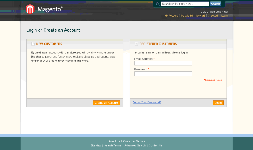Magento Login Page