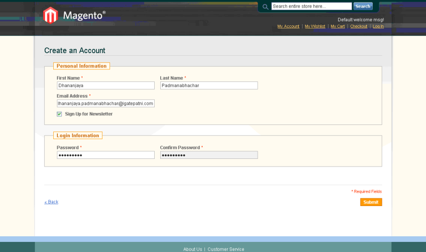 Magento - Create an Account