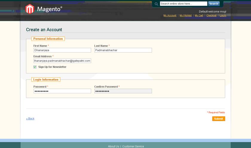 Magento - Create an Account
