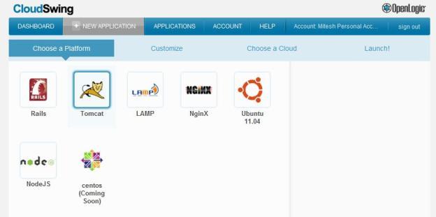 CloudSwing - Select a Platform - Tomcat