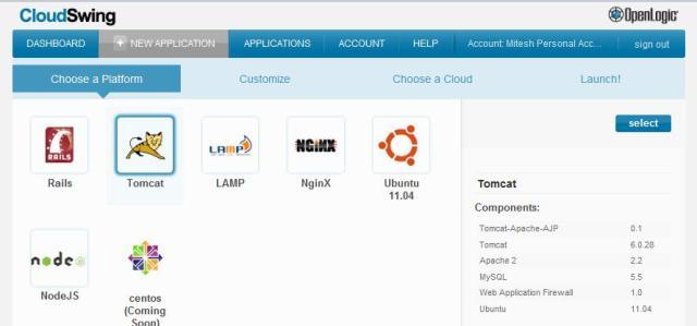 CloudSwing - Select a Platform - Tomcat -verify details