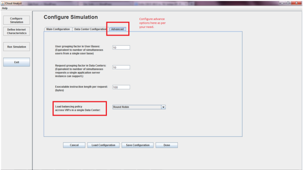 CloudAnalyst - Advanced Configurations