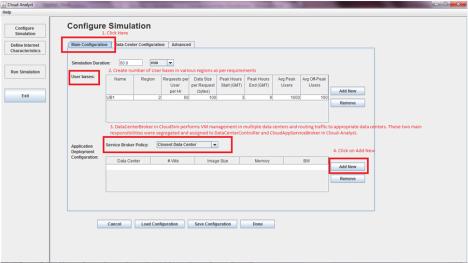 CloudAnalyst - Service Broker Configurations