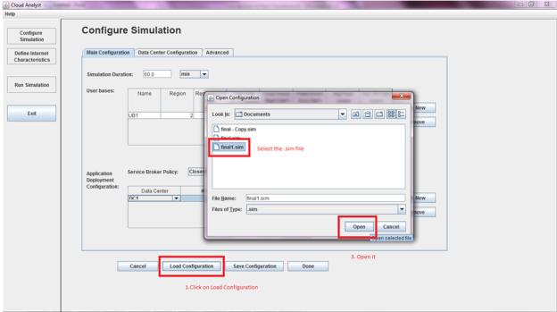 CloudAnalyst - Load Configurations
