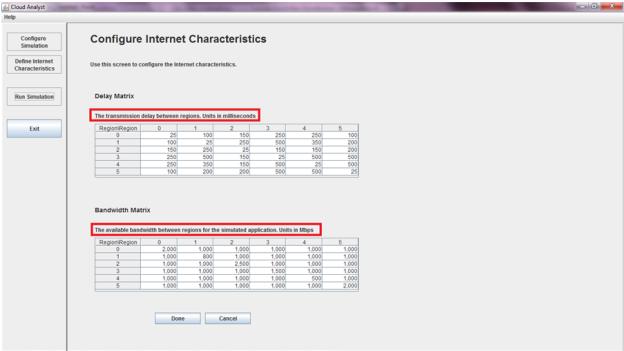 CloudAnalyst - Configure Internet Characteristics