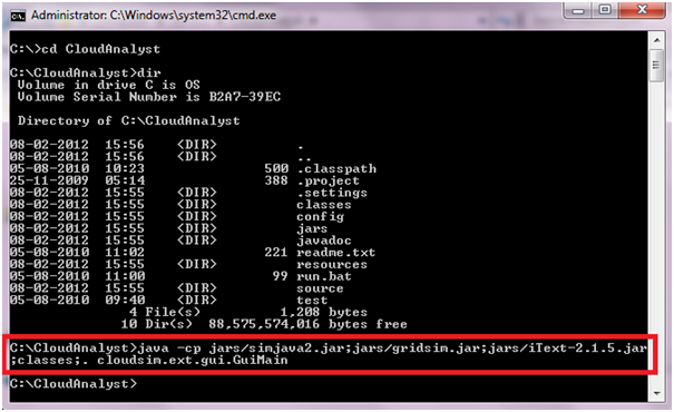 Run CloudAnalyst from Command Line