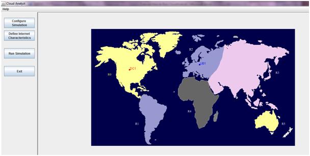 Run CloudAnalyst from Command Line: Dashboard - Regions