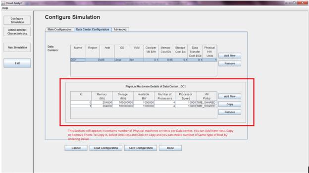 CloudAnalyst - Data Center Configurations details