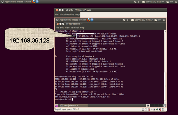 Ubuntu Virtual Machine - ifconfig