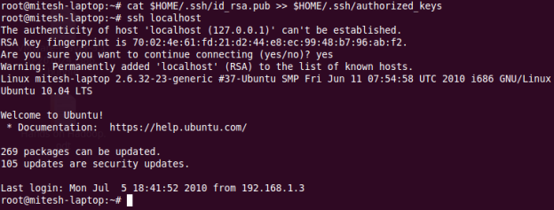 Test the SSH setup