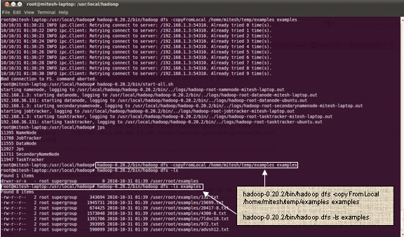 Hadoop - Copy local example data to HDFS