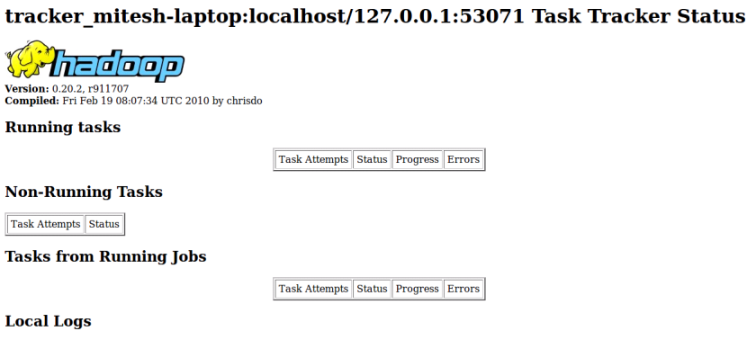 Hadoop - Task Tracker Web Interface