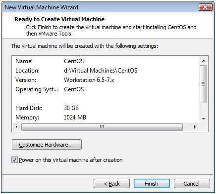 Configuration Summary for CentOS 6.3 Virtual Machine -  VMware Workstation 7.1