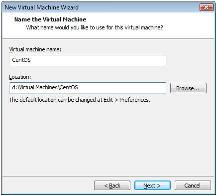 Name and Location of New CentOS 6.3 Virtual Machine -  VMware Workstation 7.1