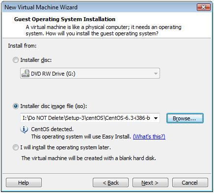 Select Installer Disc Image File (ISO) for CentOS 6.3 -  VMware Workstation 7.1
