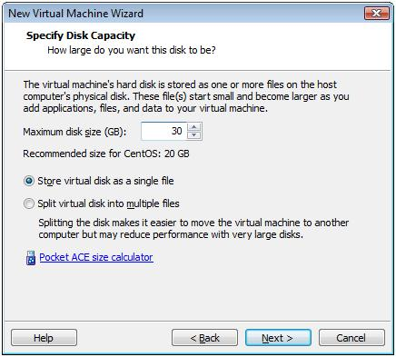 Specify Disk Capacity for CentOS 6.3 Virtual Machine -  VMware Workstation 7.1