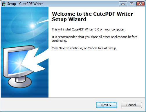 CutePDF Writer - Welcome Screen