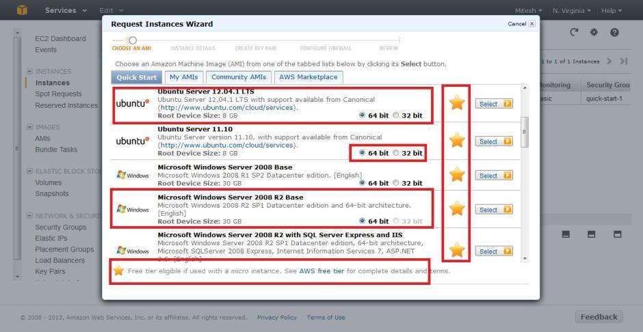 Amazon EC2 - Request Instances Wizard - Windows and Ubuntu AMI for Free Tier