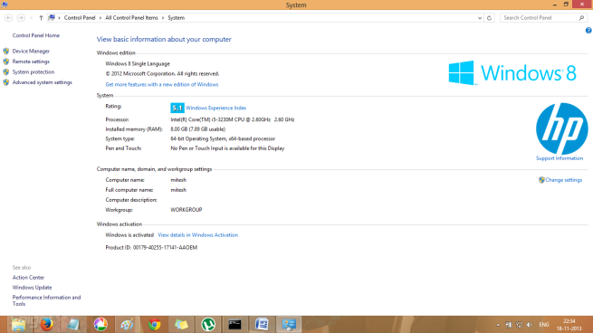 System Settings in Windows 8