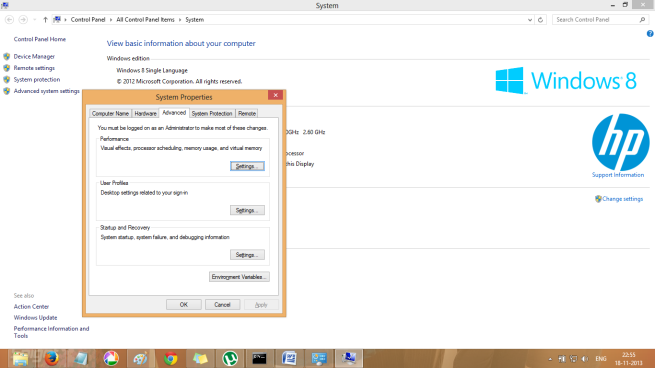 Advanced System Settings in Windows 8