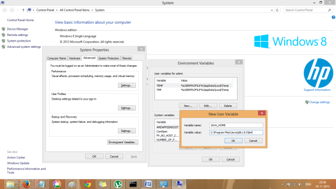 Advanced System Settings in Windows 8 - Java Home Environment Variable