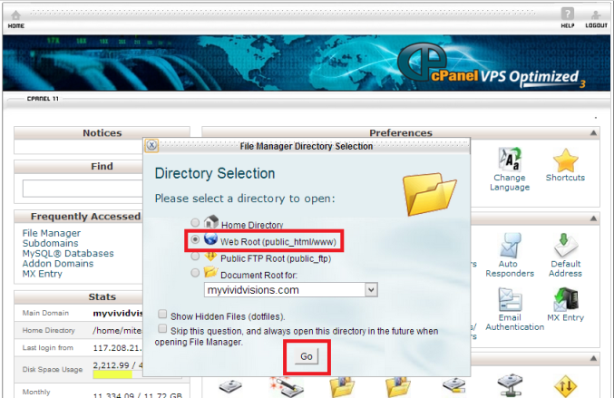 3.Wordpress - cPanel - Directory Selection