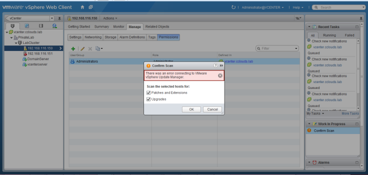 Error connecting to VMware VSphere Update Manager