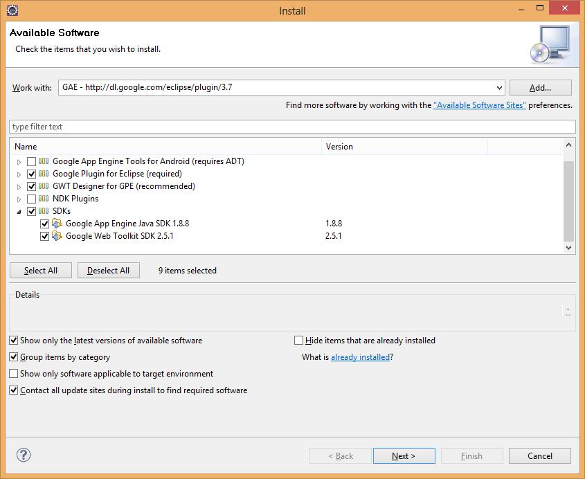 GAE Plugin Installation in Eclipse