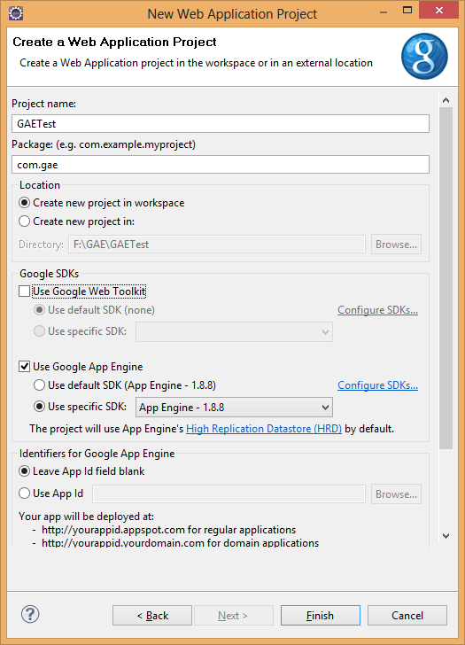 Google SDK settings for Web Application