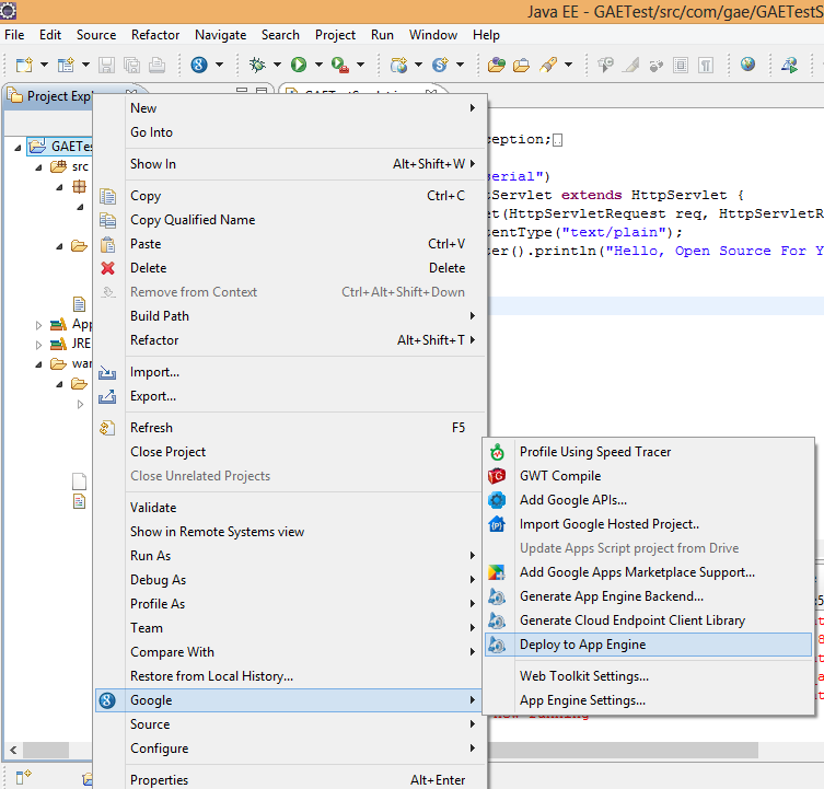 Deploy Application to GAE from Eclipse