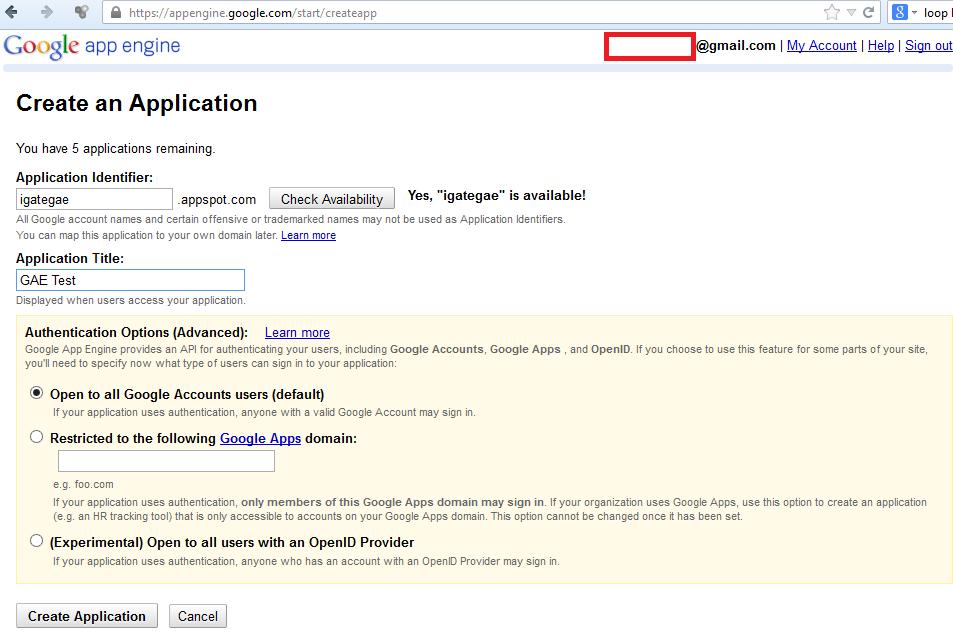 Create Application Identifier for GAE Application