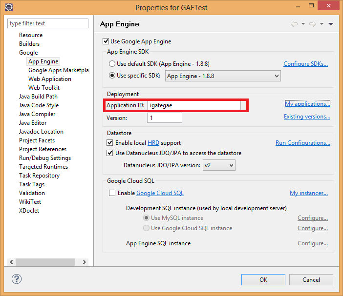 Provide Application Identifier in Eclipse Properties