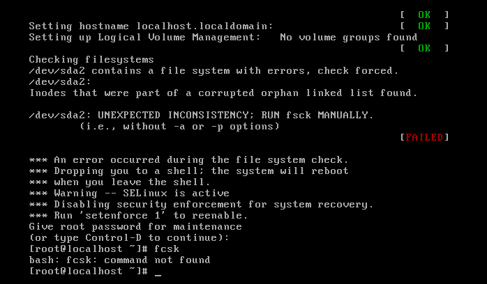 """CentOS - Unexpected inconsistancy run fsck manually"""" at every boot"""