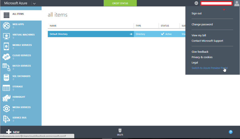 Azure Preview Portal Menu Item
