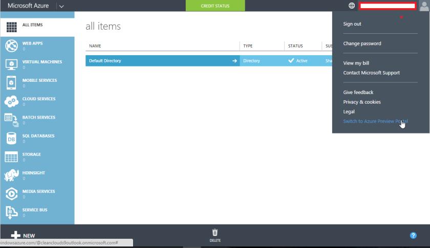 Azure Preview Portal Menu Item