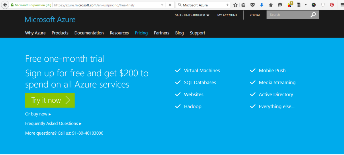 Microsoft Azure-Free one-month trial