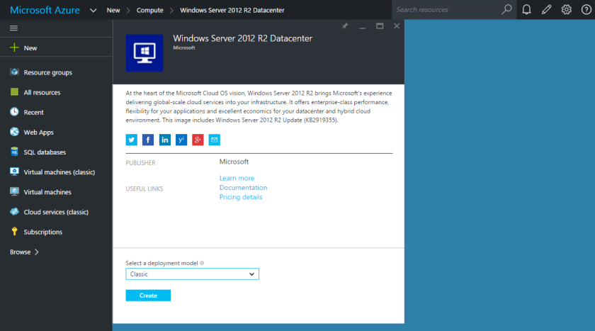 Microsoft Azure-Windows Server 2012 R2