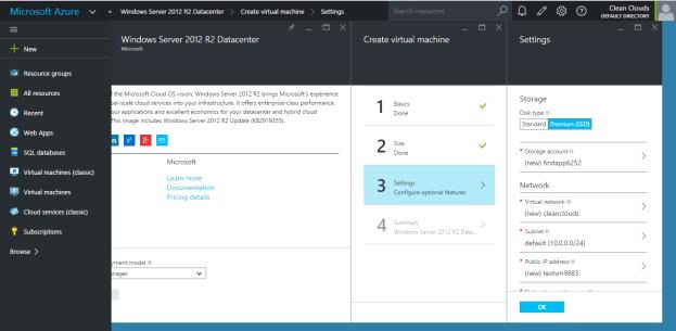 Microsoft Azure-Virtual Machine-Storage and Network Settings