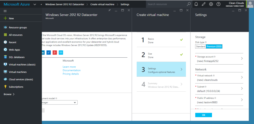 Microsoft Azure-Virtual Machine-Storage and Network Settings