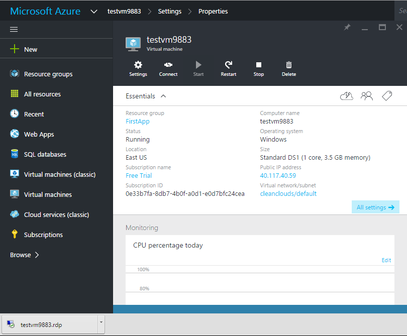 Microsoft Azure-Virtual Machine-Download RDP File