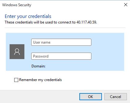 Microsoft Azure-Virtual Machine-Username and Password