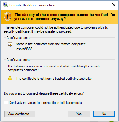 Microsoft Azure-Virtual Machine-Certificate Errors