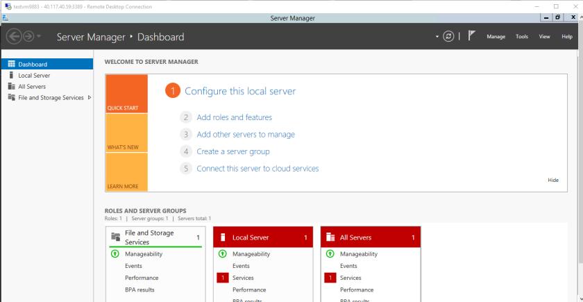 Microsoft Azure-Virtual Machine-RDP of New VM