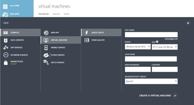 Microsoft Azure Virtual Machine Quick Create