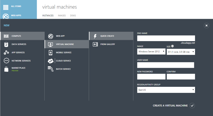 Microsoft Azure Virtual Machine Quick Create