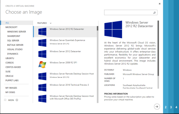 Microsoft Azure Virtual Machine From Gallery